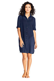 Women's Petite Cotton Embelished Button Down Shirt Dress Swim Cover-up, Front