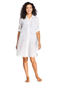 Women's Cotton Embellished Button Down Shirt Dress Swim Cover-up