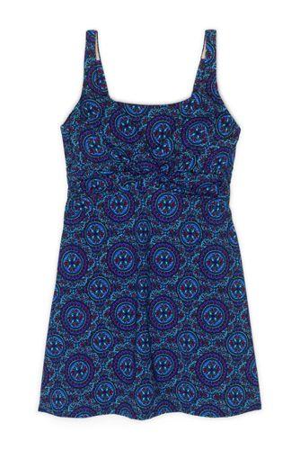 Women's Plus Size Slender Tummy Control Chlorine Resistant Underwire Swim Dress One Piece Swimsuit