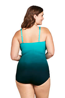 Women's Plus Size Long Slender Tummy Control Chlorine Resistant Skirted One Piece Swimsuit Print, Back