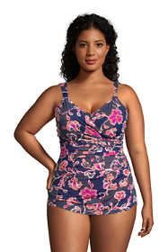 Women's Plus Size Slender V-Neck Tummy Control Chlorine Resistant Skirted One Piece Swimsuit Print