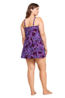 Women's Plus Size DDD-Cup Slender Tummy Control Underwire Swim Dress One Piece Swimsuit Print, Back