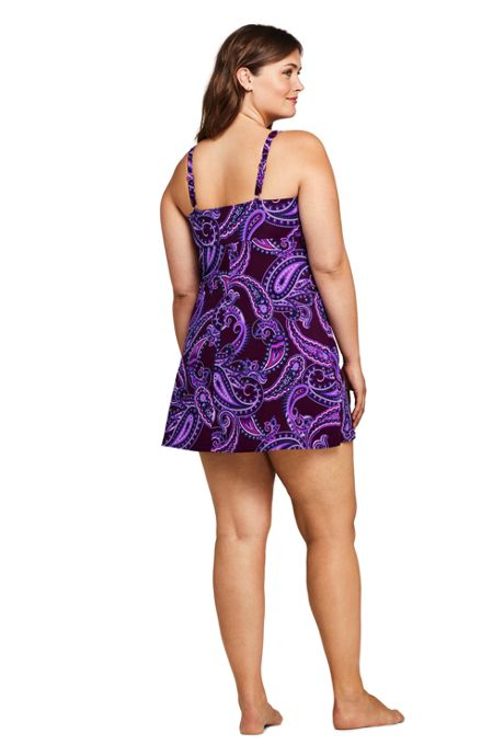 Women's Plus Size DD-Cup Slender Tummy Control Underwire Swim Dress One Piece Swimsuit Print