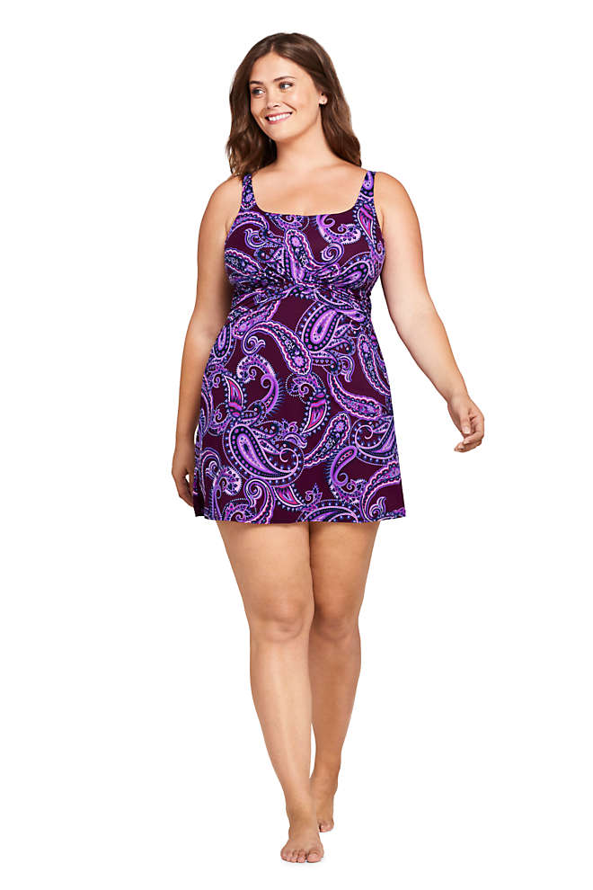 Women's Plus Size DDD-Cup Slender Tummy Control Underwire Swim Dress One Piece Swimsuit Print, Front