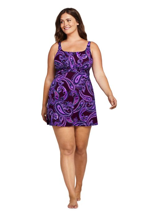 Women's Plus Size DD-Cup Slender Tummy Control Underwire Swim Dress One Piece Swimsuit Print