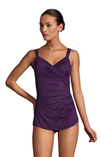 Women's Petite Slender V-Neck Tummy Control Chlorine Resistant Skirted One Piece Swimsuit , Front