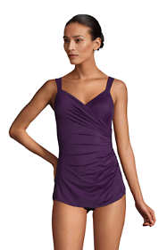 Women's Petite Slender V-Neck Tummy Control Chlorine Resistant Skirted One Piece Swimsuit