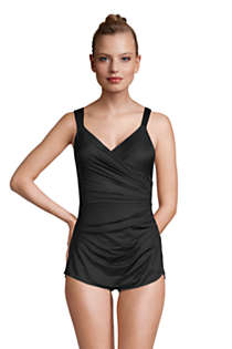 Women's Mastectomy Slender V-neck Tummy Control Chlorine Resistant Skirted One Piece Swimsuit, Front
