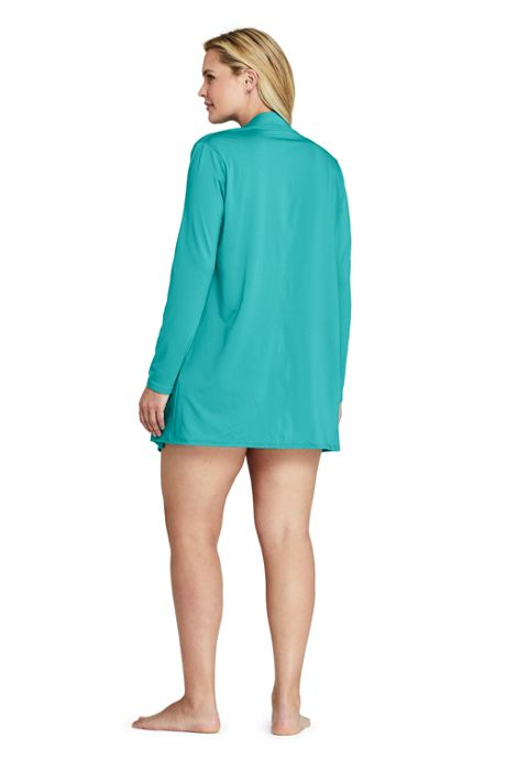 Women's Plus Size UPF 50 Sun Protection Waterfall Cardigan Swim Cover-up