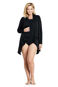 Women's Plus Size UPF 50 Sun Protection Waterfall Cardigan Swim Cover-up