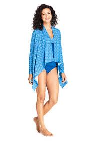 Women's Petite UPF 50 Sun Protection Waterfall Cardigan Swim Cover-up Print