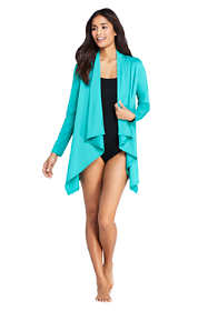 Women's Petite UPF 50 Sun Protection Waterfall Cardigan Swim Cover-up