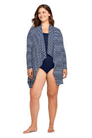 Women's Plus Size UPF 50 Sun Protection Waterfall Cardigan Swim Cover-up Print