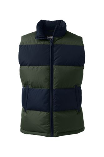 Men's Rugby Stripe 600 Down Vest by Lands' End