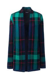 Women's Plus Size Cotton Open Long Cardigan Sweater - Print