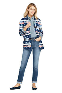 Women's Cotton Open Long Cardigan Sweater - Print , Unknown