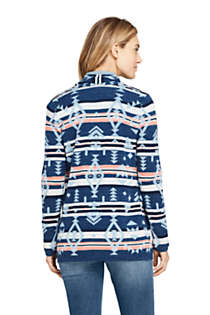 Women's Cotton Open Long Cardigan Sweater - Print , Back