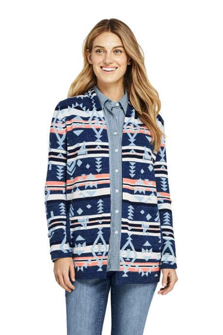 Women's Petite Cotton Open Long Cardigan Sweater - Print