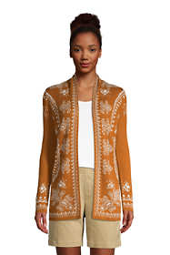 Women's Tall Cotton Open Long Cardigan Sweater - Pattern