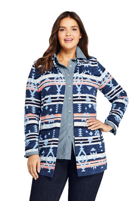 Women's Plus Size Cotton Open Long Cardigan Sweater - Print