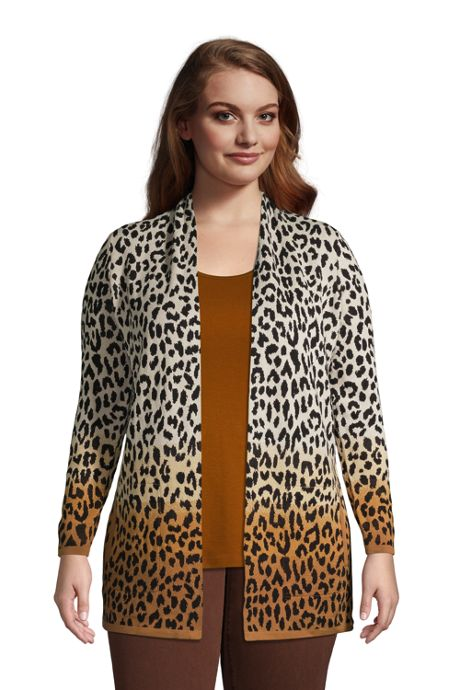 Women's Plus Size Cotton Open Long Cardigan Sweater - Pattern