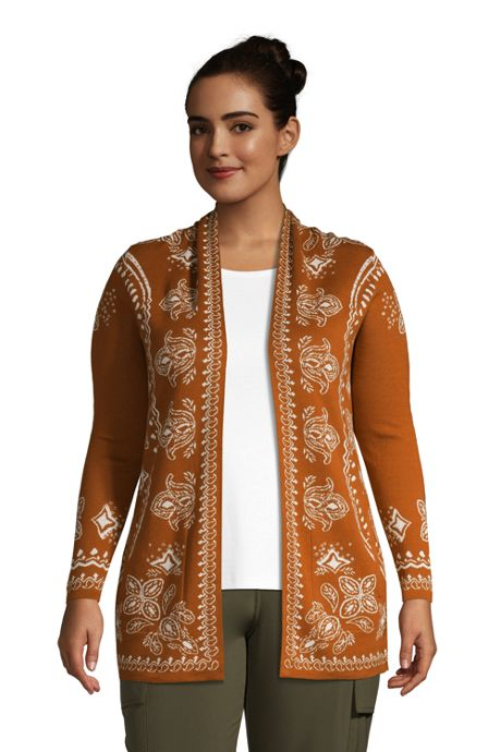 Women's Plus Size Cotton Open Long Cardigan Sweater - Pattern