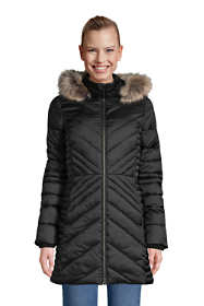 Women's Tall Insulated Plush Lined Winter Coat with Faux Fur Hood