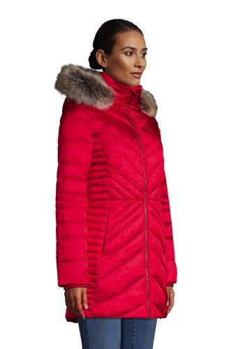 Women's Petite Insulated Plush Lined Winter Coat with Faux Fur Hood