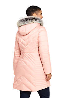 Women's Insulated Plush Lined Winter Coat with Faux Fur Hood, Back