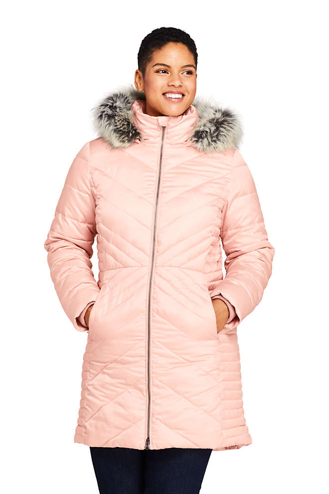 Women's Insulated Plush Lined Winter Coat with Faux Fur Hood, Front