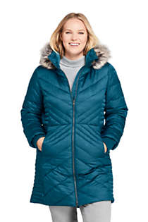 Women's Petite Insulated Plush Lined Winter Coat, Front