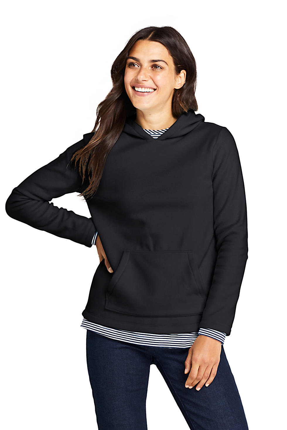 Lands End Womens Fleece Hoodie (Black)