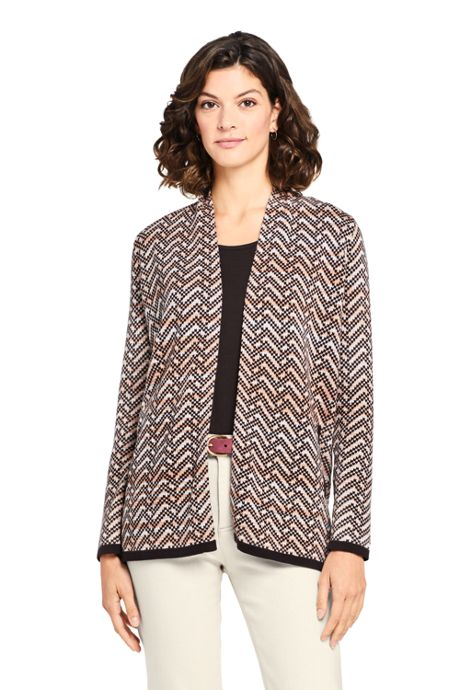 Women's Tall Cotton Open Long Cardigan Sweater - Print