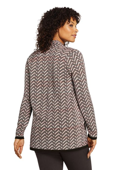 Women's Plus Size Cotton Long Sleeve Open Cardigan Sweater Float Jacquard