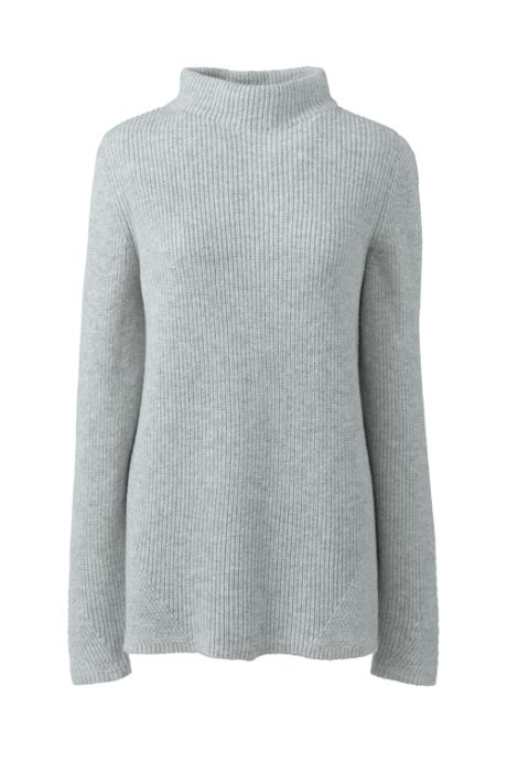 Women's Petite Cotton Wool Blend Mock Neck Sweater