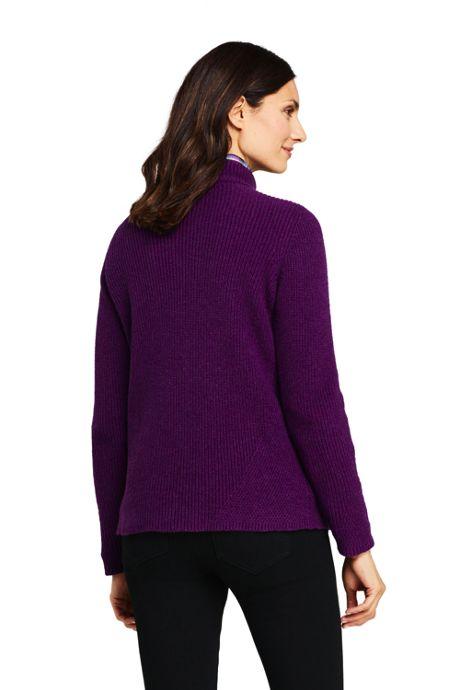 Women's Long Sleeve Mock Neck Cotton Wool Blend Sweater