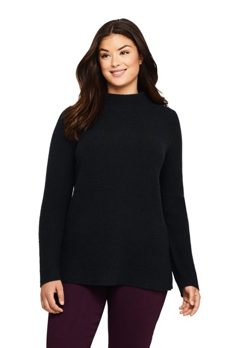 Women's Plus Size Cotton Wool Blend Mock Neck Sweater