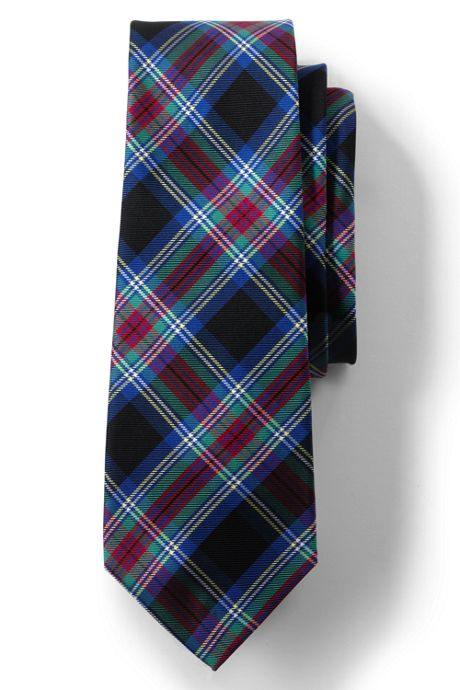 Men's Long Silk Plaid Tie