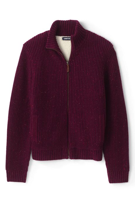 Men's Lighthouse Sherpa Lined Zip Cardigan Sweater