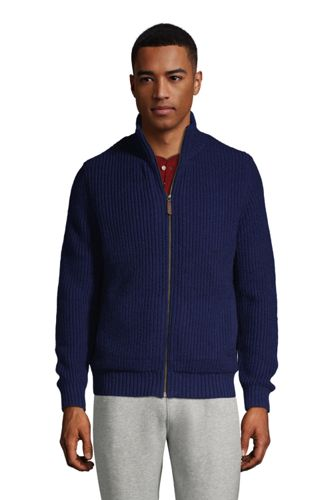 Cardigan Zippé Doublé de Polaire Sherpa, Homme Stature Standard