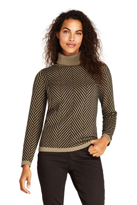 Women's Cashmere Turtleneck Sweater - Print