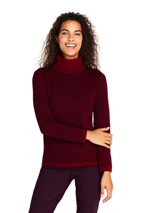 Women's Tall Cashmere Turtleneck Sweater - Print