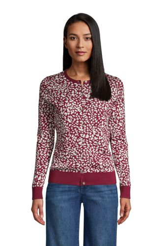 Cardigan Fines Mailles Supima Jacquard, Femme Stature Standard