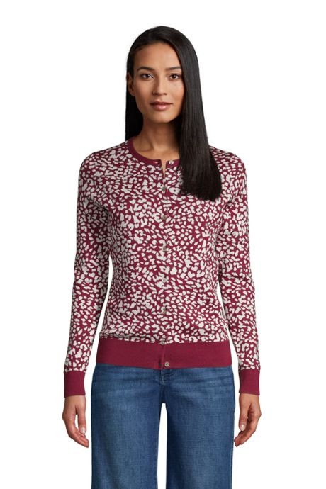 Women's Tall Supima Cotton Cardigan Sweater - Print