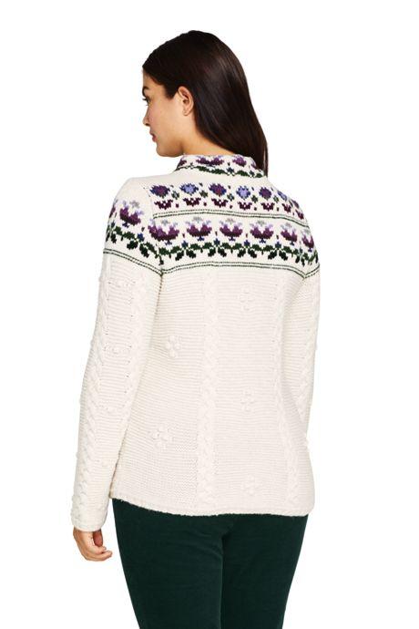 Women's Plus Size Cotton Blend Mock Neck Aran Cable Sweater - Fair Isle