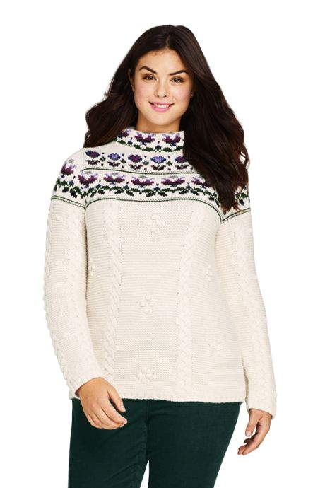 Women's Plus Size Cotton Blend Mock Neck Aran Cable Sweater - Fair Isle