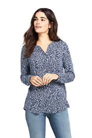 Women's Long Sleeve Button Cuff Tunic Top Print