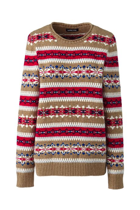 Women's Petite Christmas Cotton Blend Crewneck Sweater - Fair Isle