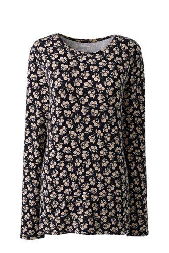 T-Shirt en Coton Modal Stretch Imprimé, Femme Grande Taille