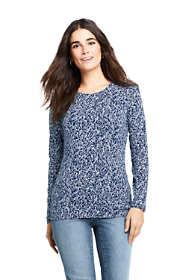 Women's Petite Lightweight Fitted Long Sleeve Crewneck T-Shirt Print
